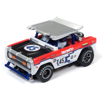 Auto World Xtraction R22 Ford Baja Bronco - Gloss White w/Red & Purple JL Race Graphics HO Scale Slot Car