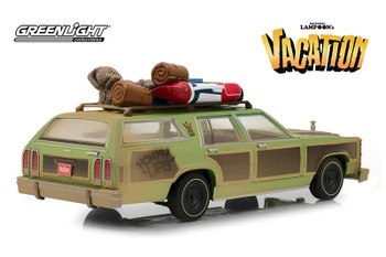 "Greenlight - Artisan National Lampoon's Vacation Family Truckster ""Wagon Queen"" with Rooftop Luggage and Aunt Edna (1979, 1/18 scale diecast model car, Green) 19048"