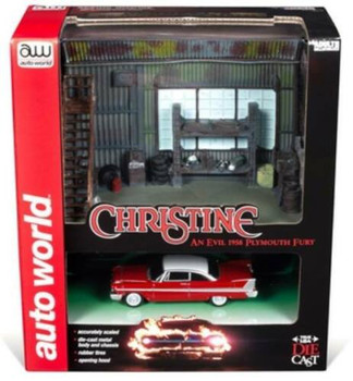 "1958 Plymouth Fury Red w/ ""Darnell's Garage"" Scenic Display Diorama from ""Christine"" (1983) Movie 1/64 by Autoworld"
