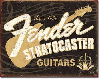 "TIN SIGN # 1994 Fender Stratocaster 60th  12.5""Wx16""H"