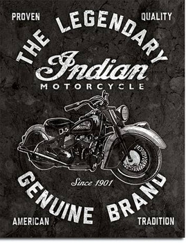 "TIN SIGN# 2300 Indian Motorcycles - Legendary  12.5""Wx16""H"