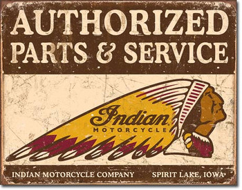 """TIN SIGN # 1930 Authorized Indian Parts and Service 16""""Wx12.5""""H"""