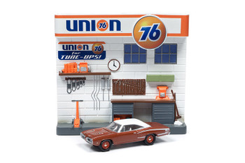 1970 Dodge Coronet Super Bee and Union 76 Interior Service Gas Station Facade