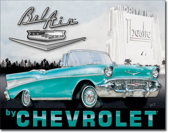 "TIN SIGN # 1760 1957 Chevy Bel Air 16""Wx12.5""H"