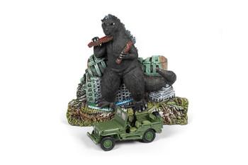 Round 2 Johnny Lightning - Diorama 2019 Release 1   Godzilla Façade w/Willys MB Jeep - Japan Police Reserve Corps