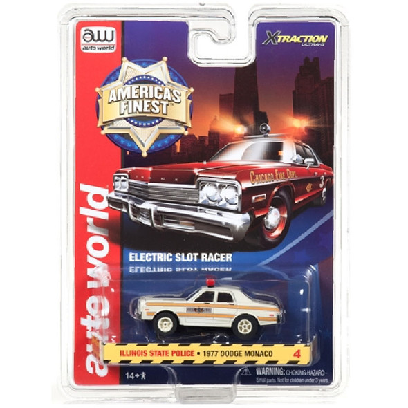 Auto World Xtraction R21 1977 Dodge Monaco Illinois State Police HO Scale Slot Car