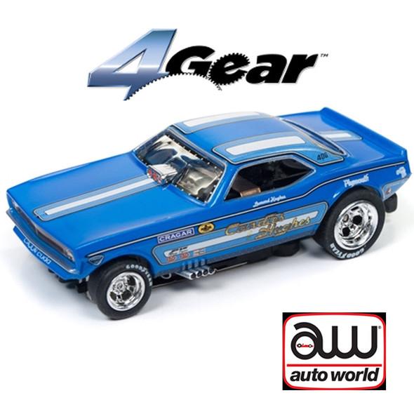 Auto World 4Gear R20 1970's Plymouth Cuda F/C Candies & Hughes HO Scale Slot Car