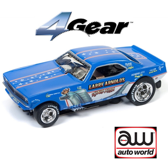 Auto World 4Gear R20 1970's Plymouth Cuda F/C Larry Arnold's King Fish HO Scale Slot Car