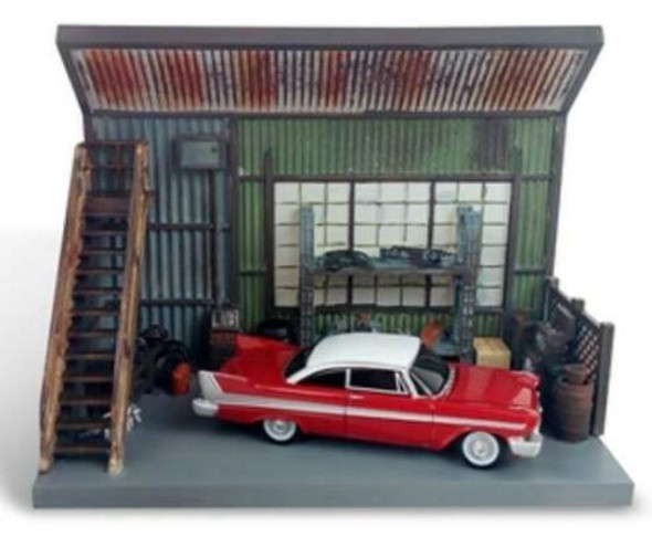 """1958 Plymouth Fury Red w/ """"Darnell's Garage"""" Scenic Display Diorama from """"Christine"""" (1983) Movie 1/64 by Autoworld"""