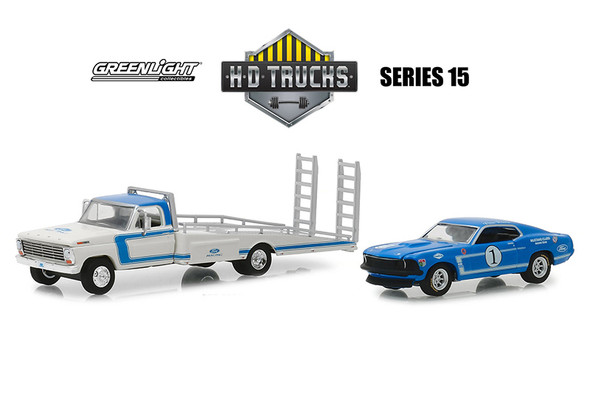 Greenlight - Heavy Duty Trucks Series 15 | Ford Performance 1969 F-350 Ramp Truck with Mustang Clubs Racing Team #1 1969 Ford Mustang Boss 302