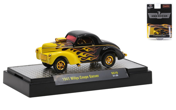 M2 Machines WILLYS AMERICAR Black w/Flames 1941 Coupe Gasser CHASE+MAINLINE