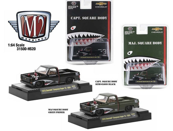 1973 CHEVROLET CHEYENNE SUPER 10 PICKUP TRUCK SGT. & MAJOR SQUARE BODY SET OF 2 1/64 SCALE DIECAST MODEL BY M2 MACHINES 31500-HS20