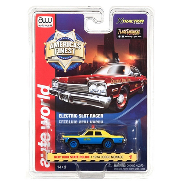 Auto World Xtraction R21 1974 Dodge Monaco New York State Police HO Scale Slot Car
