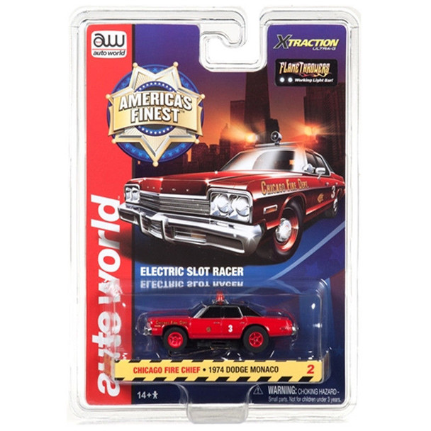Auto World Xtraction R21 1974 Dodge Monaco Chicago Fire Chief HO Scale Slot Car