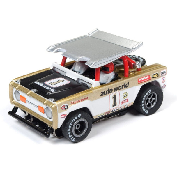 Auto World Xtraction R22 Ford Baja Bronco - Gloss White w/Gold AW Race Graphics HO Scale Slot Car