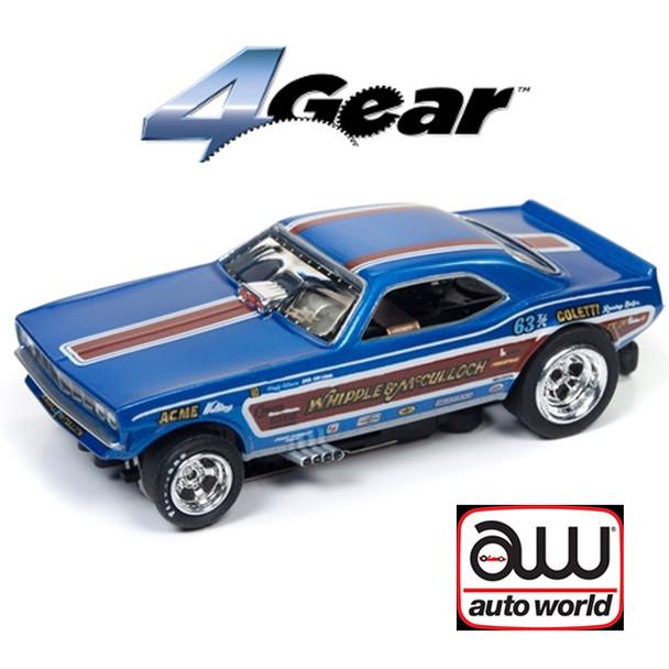 Auto World 4Gear R20 1971 Plymouth Cuda F/C Whipple & McCulloch HO Scale Slot Car