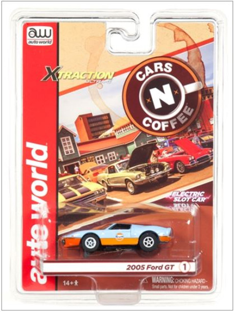 Auto World Xtraction R23 2005 Ford GT (Gulf) Light Blue HO Scale Slot Car
