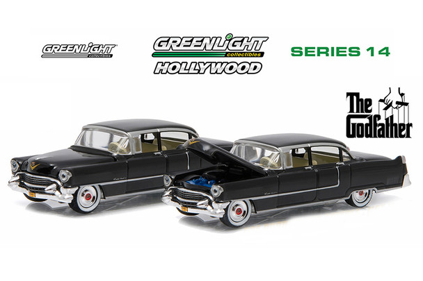 """Greenlight - Hollywood Series 14   """"The Godfather"""" Cadillac Fleetwood Series 60 Special (1955, 1/64 scale diecast model car, Black) 44740B/4"""
