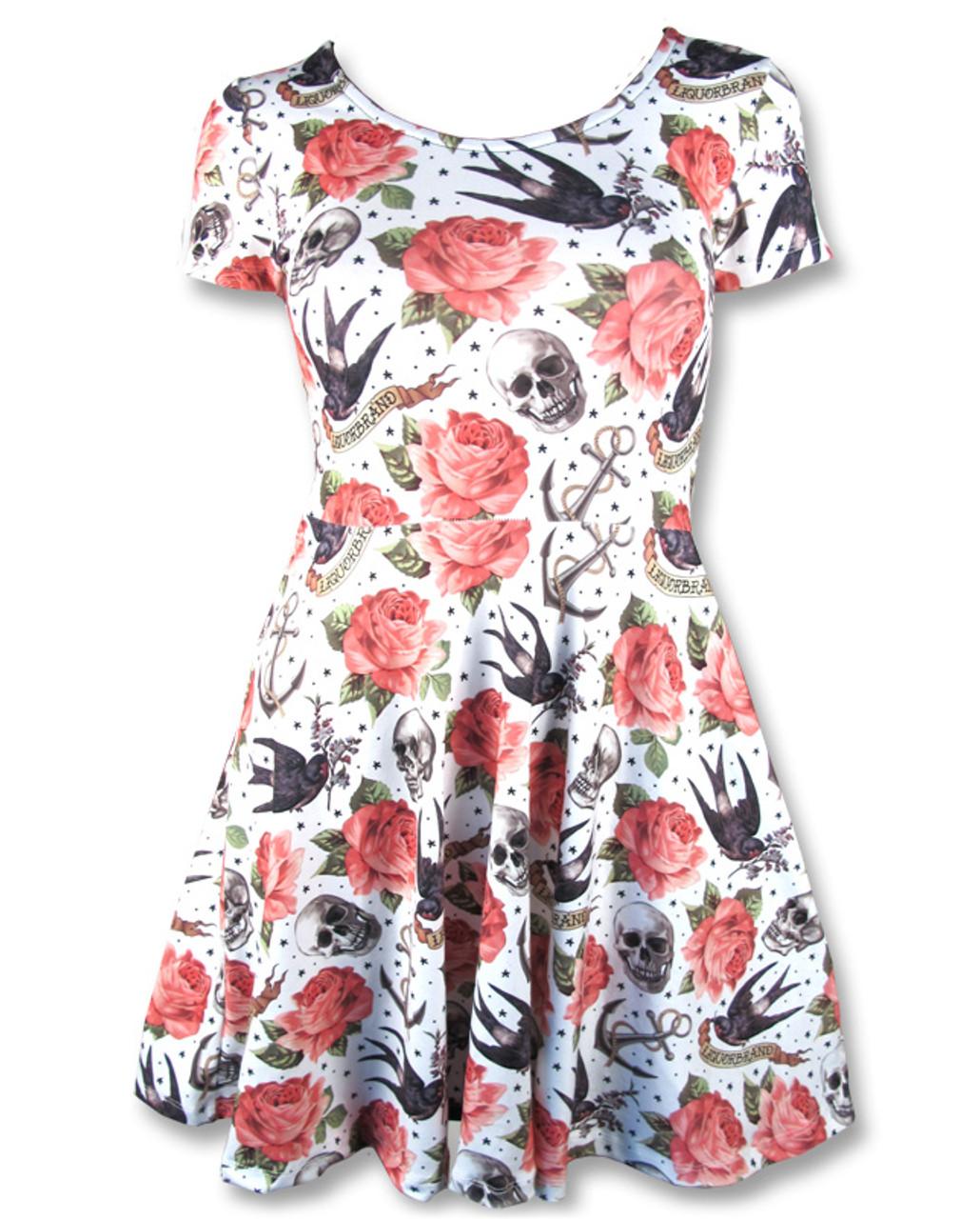 4cea171ae681 Liquorbrand alternative rose tattoo skater dress