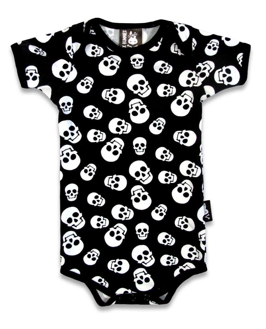 c8438d57b474 Six Bunnies Polka Skull Dot Baby Romper