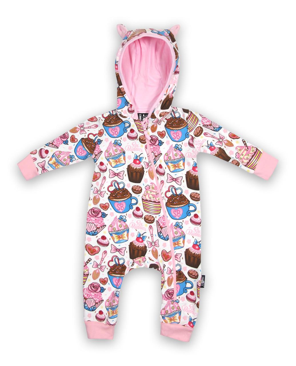 e57d9ecc4aa4 Six Bunnies Cupcakes Baby Playsuit Romper