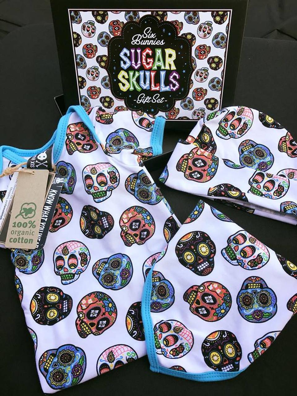 Six Bunnies Monochrome Sugar Skulls One Piece Romper Baby Rockabilly Cute Muerto