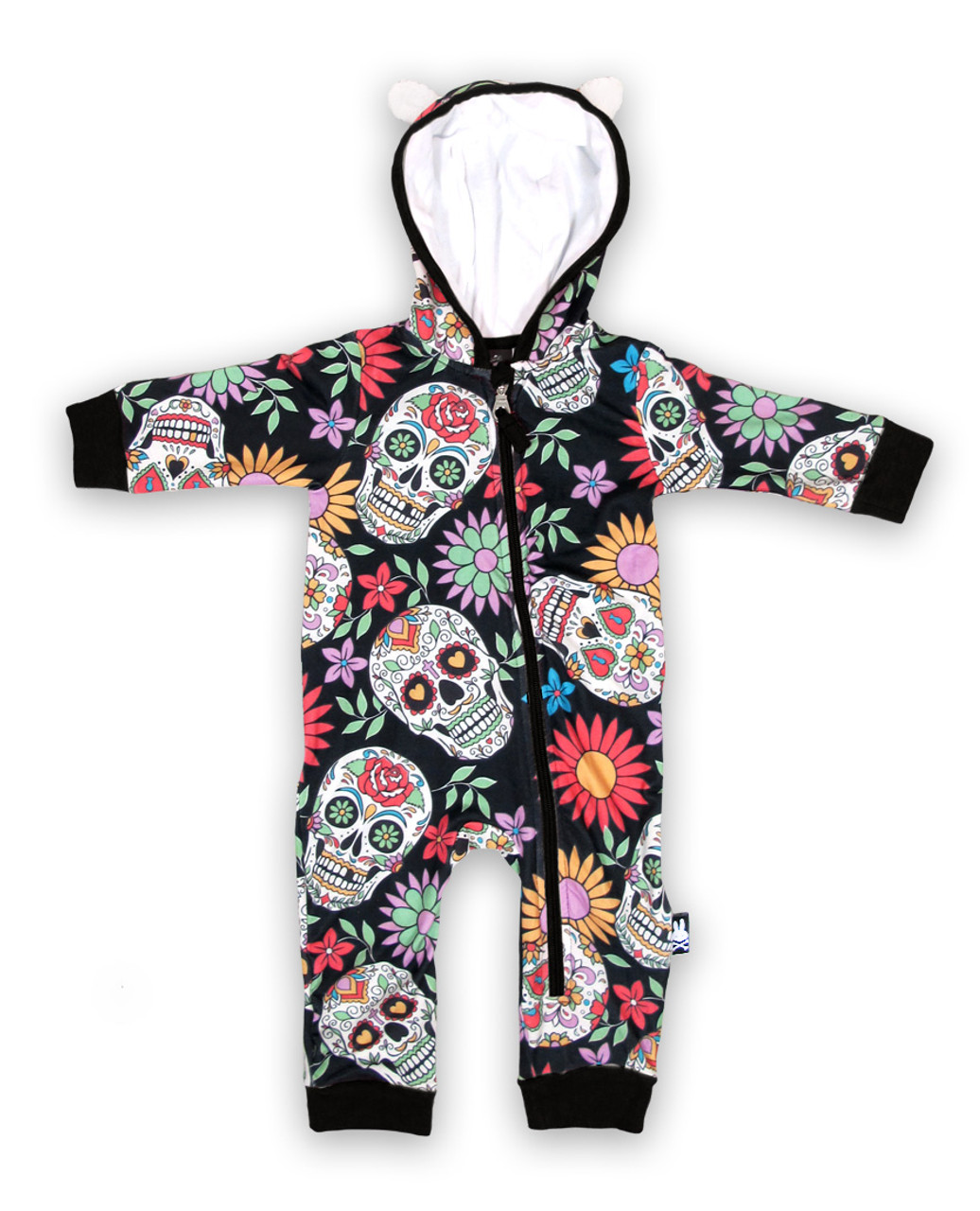 822bcf0c244 Six Bunnies Sugar Skulls Baby Playsuit Romper