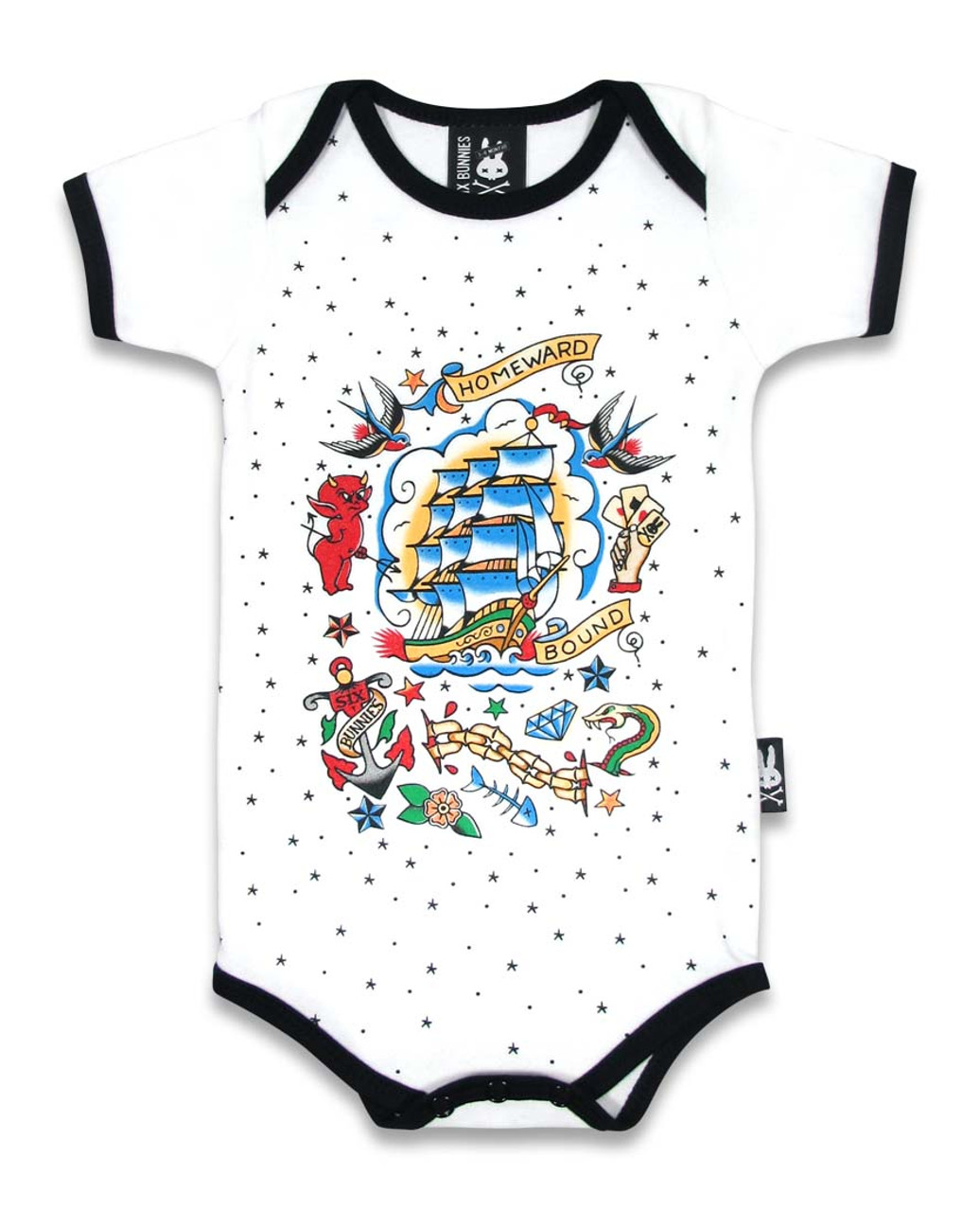 662a2995e Six Bunnies Old School Tattoo Baby Romper | Alternative Baby Clothes