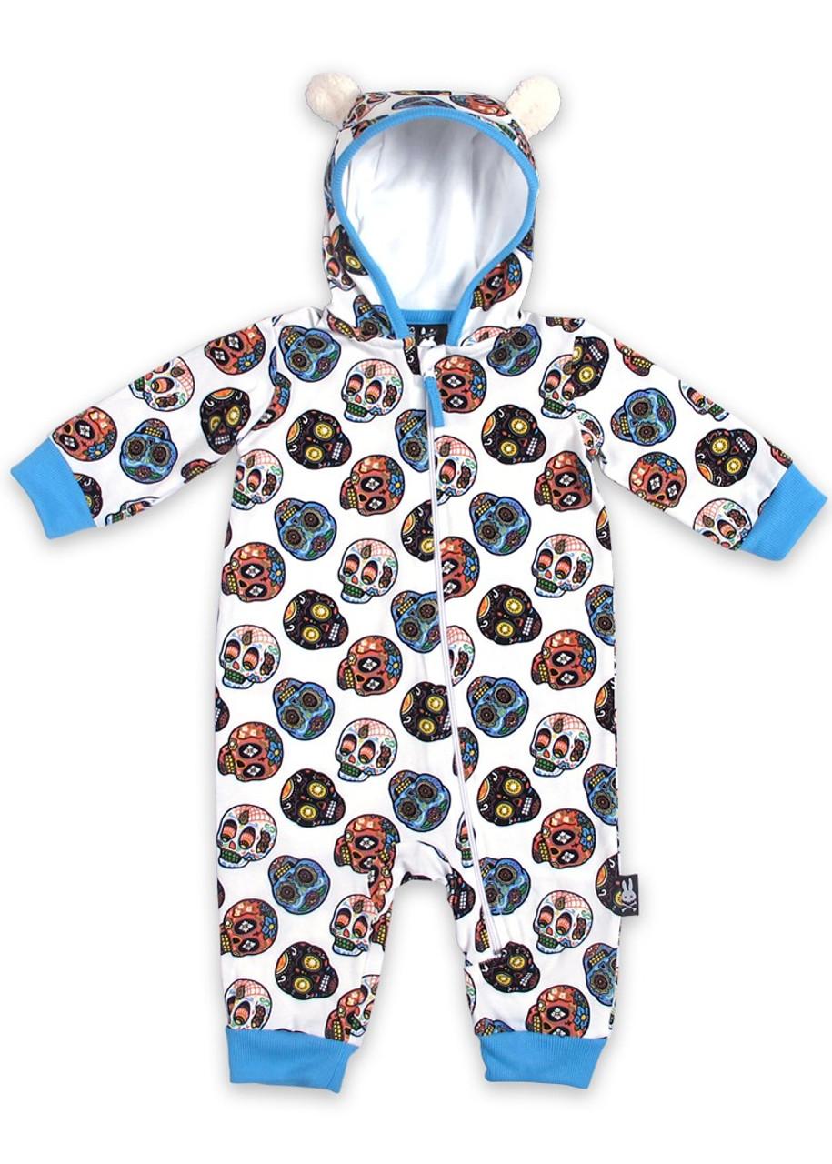 4b241576876a Six Bunnies Sugar Skulls Baby Playsuit Romper