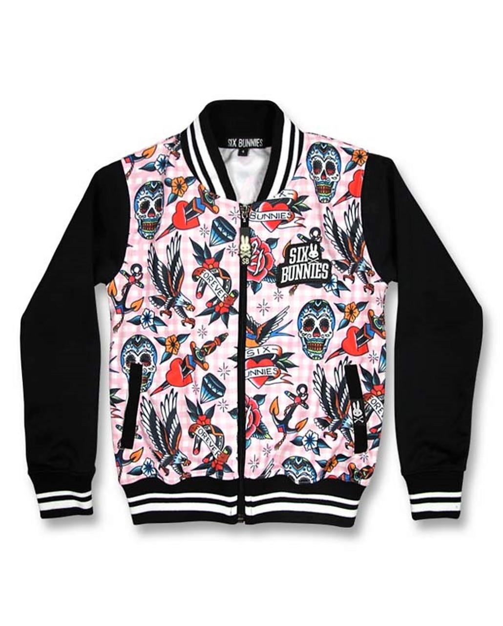 Six Bunnies Tattoo Shoppe Pink Jacket   Kids Bomber