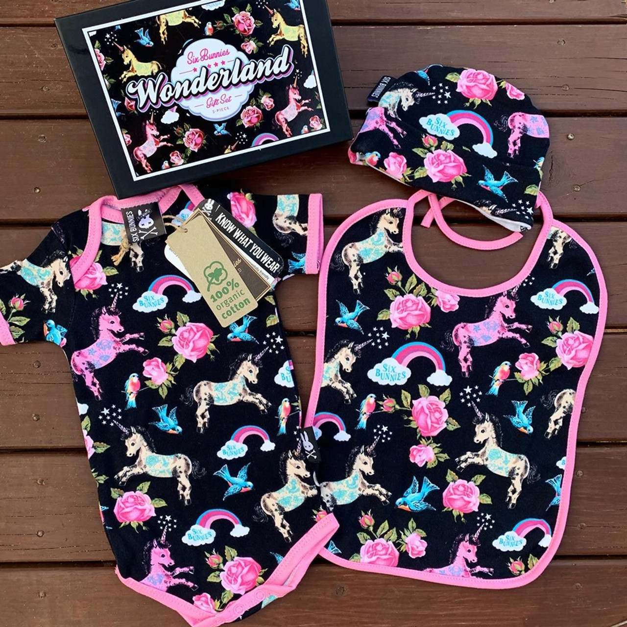 Six Bunnies Rainbow Unicorns Baby Shower Gift For Girl Romper Hat Bib Punk Mom