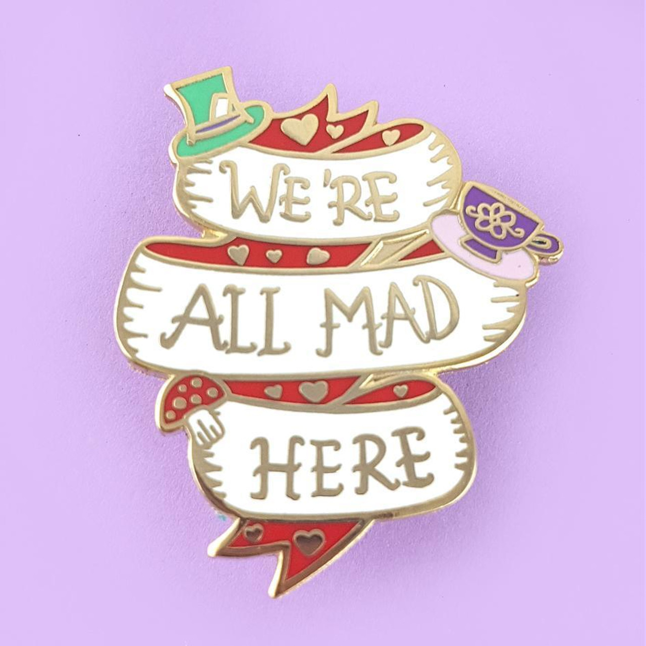 Were all mad here alice in wonderland lapel enamel pin jubly umph