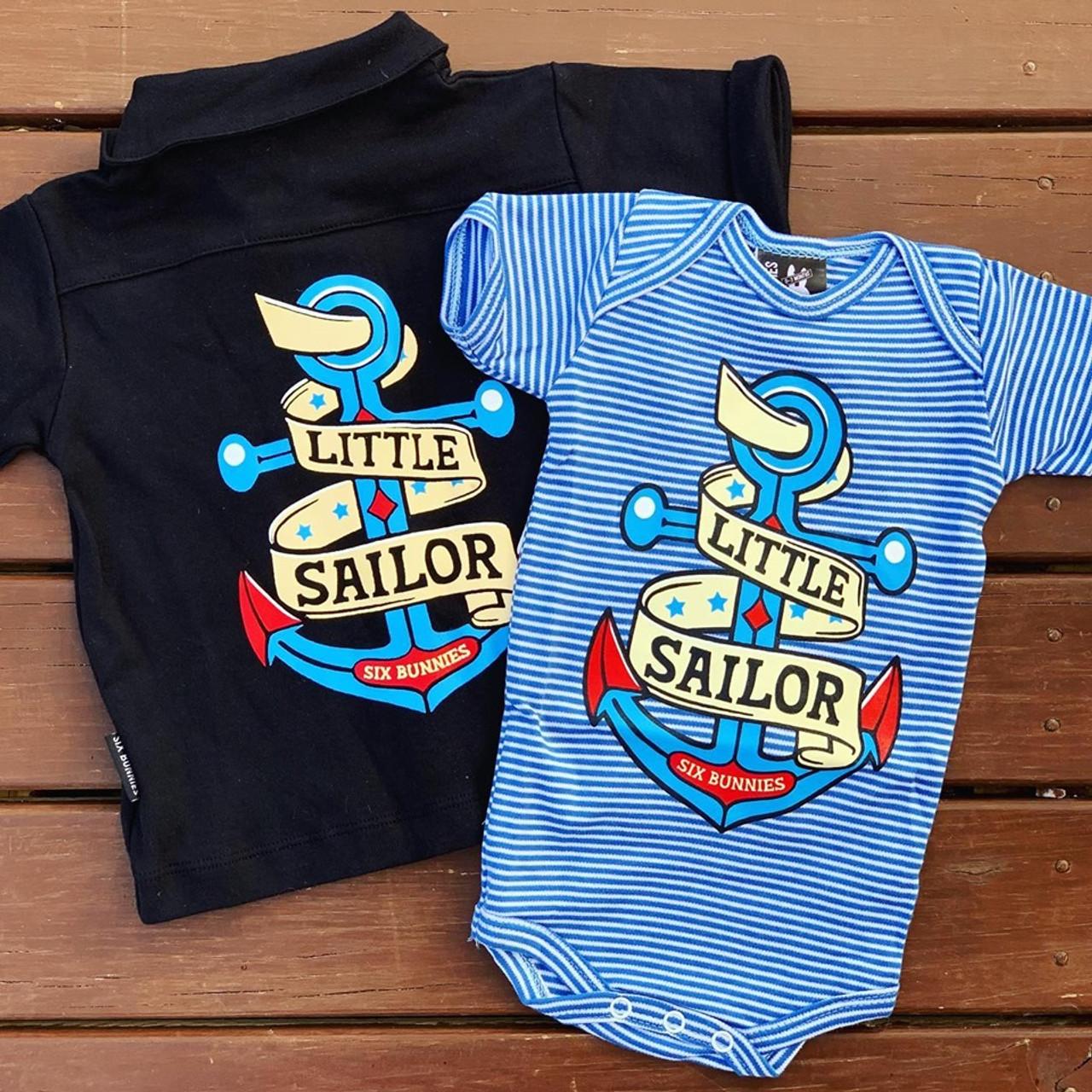 Six Bunnies Little Sailor Romper OnePiece Punk Tattoo Nautical Baby AnchorShower