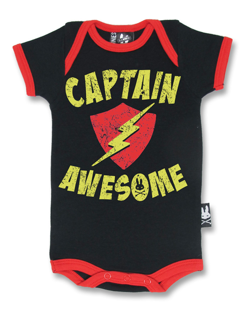 f442a2280 Six Bunnies Captain Awesome Superhero Baby Onesie Romper