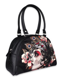 Liquorbrand Gypsy Rose Sugar Skull Bowler Bag