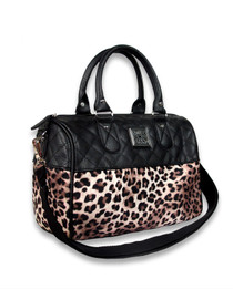 Liquorbrand Leopard Plush Leather Round Bag