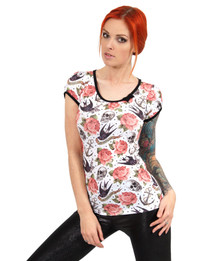 Liquorbrand Rose Tattoo White Bow Top - model