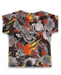 Six Bunnies Fire Dragon Kids Tee Shirt - back