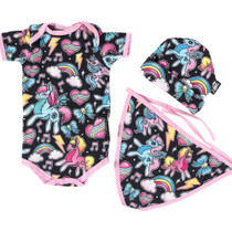 Six Bunnies Unicorn Gift Set Onesie Beanie and Bib