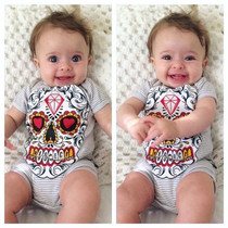 Six Bunnies Sugar Skull Baby Onesie - Grey