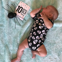 Six Bunnies Polka Skull Baby Romper Onesie - baby