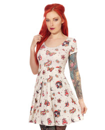 Liquorbrand Classic Flash Tattoo Skater Dress - front