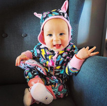 Six Bunnies Unicorns Baby Hooded Romper - model 2