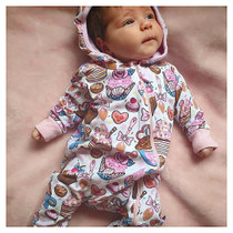 Six Bunnies Cupcakes Baby Hooded Romper - model