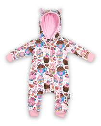 Six Bunnies Cupcakes Baby Hooded Romper