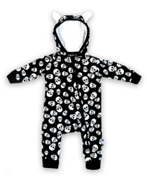 Six Bunnies Polka Skulls Baby Hooded Romper