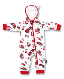 Six Bunnies Cherry Garage Baby Hooded Romper