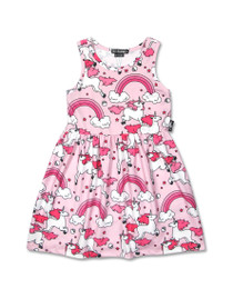 Six Bunnies Rainbow Unicorns Babydoll Dres