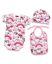 Six Bunnies Rainbow Unicorn 3 pcs Gift Set - Onesie, Beanie and Bib