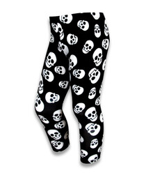 Six Bunnies Polka Skulls Black Girls Leggings